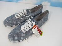 5fb0c30ed316 Women s Bongo Canvas Sneakers Blue w  White Polka Dots Lace Or Laceless Size  8