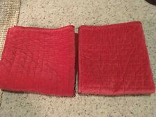 POTTERY BARN 2 Red Pick Stitch Euro Shams VELVET w/ Silk Back, Button closure
