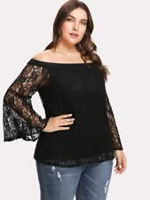 NEW..Elegant Plus Size Black Lined Lace Bardot off the Shoulder Top..Sz16/2XL