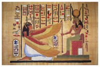 Egyptian Hieroglyphics Isis With Horned Crown Ancient Poster 12x18 inch