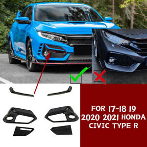 6x Replace Fit 2017-2021 Honda Civic Type R black Front bumper fog lamp cover