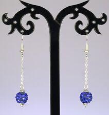 Cobalt blue rhinestone bead dangle earrings, silver chain/hooks **MOST COLOURS**