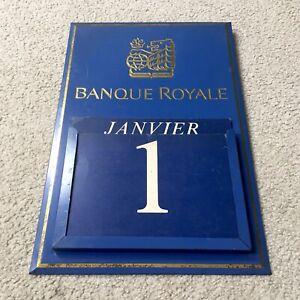 Vintage BANQUE ROYALE Metal Perpetual Calendar Sign - Royal Bank of Canada 18x12