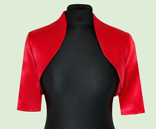 Women Red Wedding/prom Satin Bolero Shrug Jacket S M L XL XXL 14
