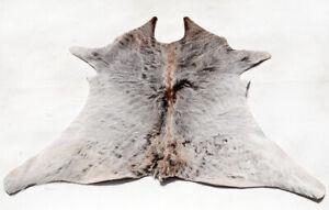 """Rare Cowhide Rugs Calf Hide Cow Skin Rug (24''x29"""") Greyish White Brown CH8447"""