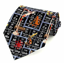 Periodic Table Mens Neck Tie Science Black Necktie Chemist Scientist Gift New