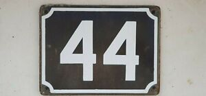 Genuine Big vintage ISRAELI enamel porcelain number 44 STREET house sign # 44