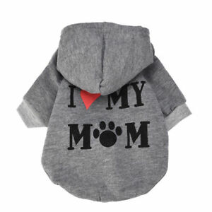 Dog Clothes Boy Girl Pet Hoodie I LOVE MY MOMMY for for chihuahua Maltese yorkie