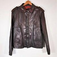 Vintage 70s Stratojac Brown Leather Jacket 1970s Bomber Moto MOD Biker Coat XL