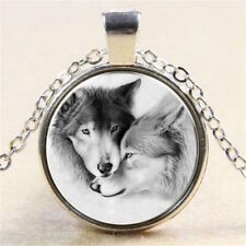 Fashion Wolf Couple Cabochon Tibetan Silver Glass Chain Pendant Necklace Gift