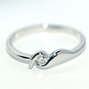 Lovely 925 Silver Wave Rings for Womens Girls Cubic Zirconia Stone Rings Size 6
