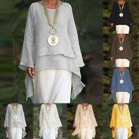 Women Fashion Plus Size Irregular Casual Linen Long Sleeve Crew Neck Blouse Top
