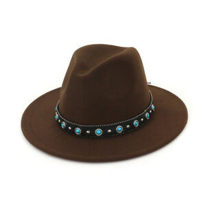 Women Wool Panama Hats Wide Brim Jazz Church Fedora Caps Turquoise Leather Band