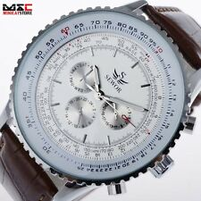 Classic Mens Day Date Automatic Sport Analog Mechanical Wrist Watch Leather Gift