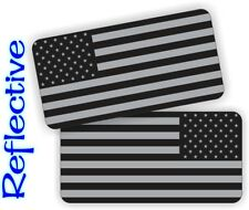 REFLECTIVE Black Ops American Flags Hard Hat Stickers | Motorcycle Helmet Decals