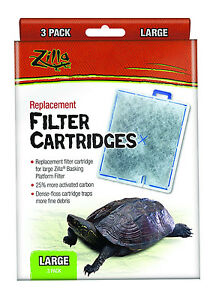 R ZILLA TURTLE BASKING FILTER REPLACEMENT CARTRIDGE LG 3 PACK PAD. USA
