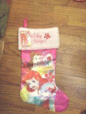 "Disney Holiday Magic Ariel & Belle 20"" Satin Pink & White Christmas Stocking"