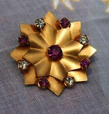 BROOCH vintage, flower, old brooch, amethyst rhinestone stones