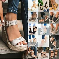 Women Wedge High Heel Espadrilles Sandals Open Toe Summer Ankle Strap Shoes Size
