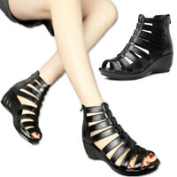 Women Cut Out Rome Gladiator Sandals Wedge Heels Peep Toe Zip Real Leather Shoes