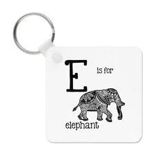 Lettre E Est pour Éléphant Porte-Clés Chaîne - Alphabet Mignon Drôle