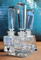 3 Antique French Clear Cut Crystal Perfume/ Cologne Bottles