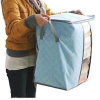 Portable Bamboo Foldable Organizer Non Woven Underbed Pouch Storage Bag Box G