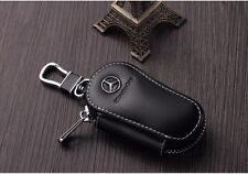 Black Genuine Leather Car Key Holder Keychain Ring Case Bag for Mercedes-Benz