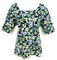 Croft & Barrow Shirt Top Womens Sz XL Multicolor Floral Short Sleeve Square Neck