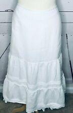 Ann Taylor Loft size 14 long full white skirt BOHO petticoat prairie 100% linen