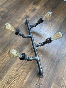 Vintage Industrial Rustic Steampunk Metal Waterpipe Ceiling Wall Lights Handmade