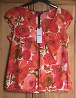 Brand New Women's Emily & Fin Red Floral Print Rosie Pleated Top Sizes 12-14