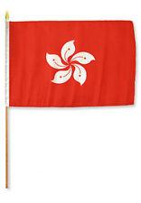 """12x18 12""""x18"""" Hong Kong Stick Flag wood staff"""