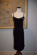 NWT Betsey Johnson Black Velvet Spaghetti Strap Wiggle/Sexy Stretch Dress Size P