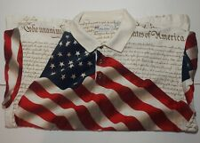 American Summer Clothing Co Size XL Flag Declaration Of Independence Polo Shirt