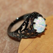 fire opal ring gemstone black gold filled jewelry Sz 5 8.25 9 10.7 cocktail band