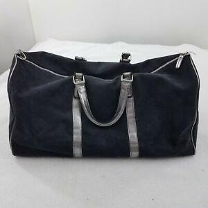 Victoria Secret Duffle Bag Purse Black Silver Metallic Faux Suede Big Travel