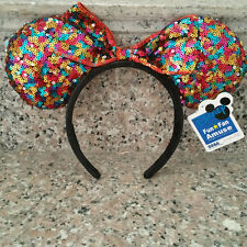 NEW Disney Parks Minnie Mouse Mixed Sequin Ears Bow Headband Party Costume Ears