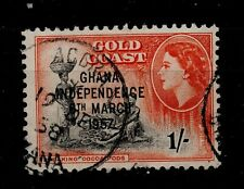 Vintage Gold Coast 1/- orange and black Ghana Independence OPTD