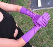Long Stretch Satin Gloves Purple Evening Glam PinUp Retro Vtg Style