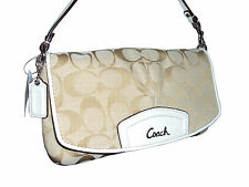 Coach Large Flap Wristlet Wallet Purse #F48127 Signature Khaki/Ivory NWT