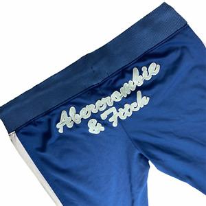 Abercrombie & Fitch Track Pants Medium M Y2K Blue Bum Logo Flare Satin Joggers