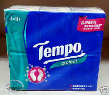 18 Packs TEMPO Pocket Tissue Paper Pack set 4 ply PROTECT Tissues packs ladies