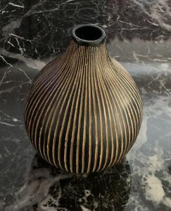 "Ceramic Vase 7"" Looks like Wood High Raised Designs Stripe Home Decor PREOWNED"