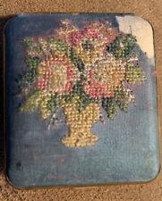New listing Vintage Mondaine Needlepoint Powder Compact Mirror w/ Flowers Bouquet in Vase
