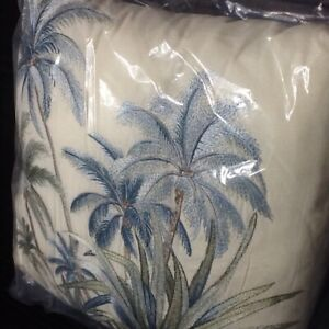 BRAND NEW Tommy Bahama SERENITY PALMS Embroidered 14-inch Square Throw Pillow