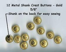 """12 vintage Metal 5/8"""" Shank Buttons Gold 15mm- Costumes School Plays Jackets"""