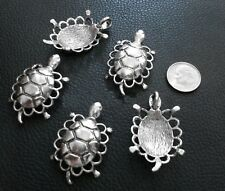 5 Turtle pendants gallery scalloped rim antique silver plt make jewelry cfp094