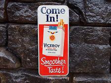 """Vintage Viceroy Cigarette Sign Tin Metal """"Smoother Taste"""""""