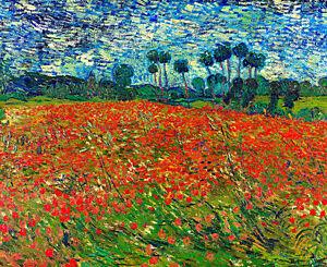 Poppy Field by Vincent van Gogh A1+ High Quality Canvas Art Print